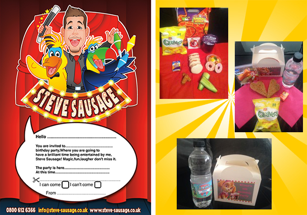 childrens entertainer suffolk party invitation and food boxes